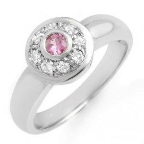 Genuine 0.35 Ctw Pink Sapphire & Diamond Ring 14K Gold