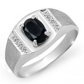 Genuine 2.0 Ctw Sapphire Men's Ring 10K White Gold