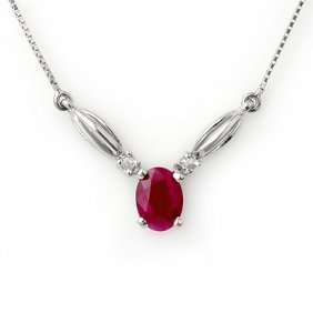 Genuine 1.30 Ctw Ruby & Diamond Necklace White Gold