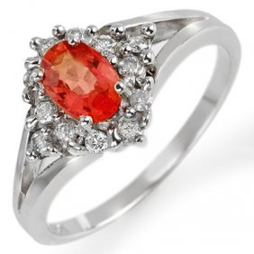 Genuine 0.95ctw Orange Sapphire & Diamond Ring 10K Gold