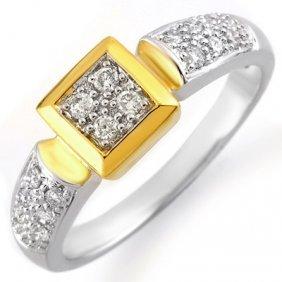 Natural 0.38 Ctw Diamond Ring 10K Multi Tone Gold