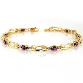 Genuine 2.02 Ctw Amethyst & Diamond Bracelet 10K Gold