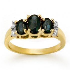 Genuine 1.33 Ctw Sapphire & Diamond Ring Yellow Gold