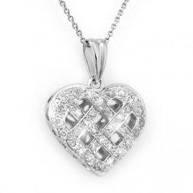 Natural 0.38 Ctw Diamond Necklace 14K White Gold