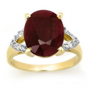 Genuine 6.50 Ctw Ruby & Diamond Ring 10K Yellow Gold