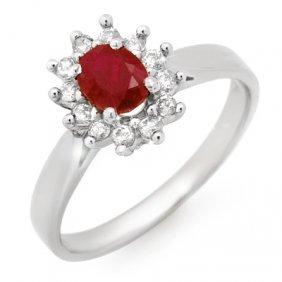 Genuine 0.70 Ctw Ruby & Diamond Ring 14K White Gold