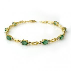 Genuine 4.11 Ctw Emerald & Diamond Bracelet Yellow Gold
