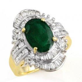 Genuine 3.45 Ctw Emerald & Diamond Ring 14K Yellow Gold