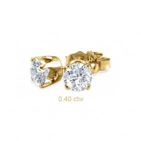 Natural 0.40 Ctw Diamond Stud Earrings 14K Yellow Gold
