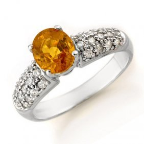 Genuine 3.03 Ctw Yellow Sapphire & Diamond Ring 14k Gol