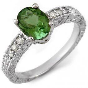 Genuine 2.68ctw Green Tourmaline & Diamond Ring Gold