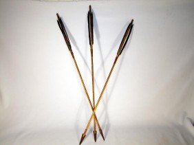3 Wood Shaft Arrows With Metal Trade Points