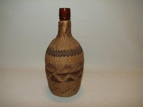 "Southwest Indian Hand Woven 9 1/4"" Bottle Cover Wi"
