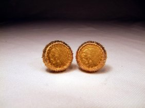 14K Gold Cuff Links With 2 1/2 Dollar Coins