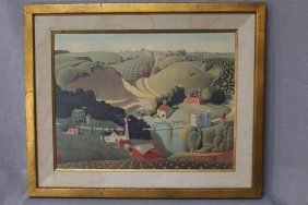 Grant Wood Stone City Lithograph
