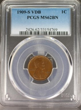 1909-s Lincoln Cent Pcg Graded Ms62bn