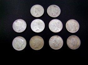 Ten 1923 Peace Dollars