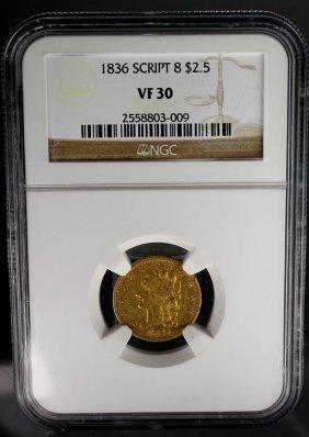 1836 Script 8 $2.5 Gold Liberty Head Vf30