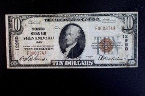 National Currency $10 Bill, Shenandoah, Iowa