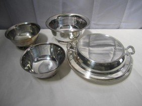 4 Silver Plated Articles - Revere Reproduction And