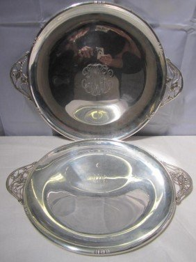 Set Of 2 Sterling Art Deco Round Trays (52 Oz.) ***