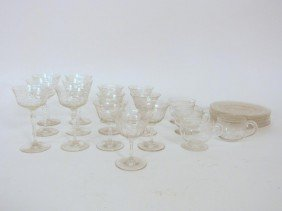 Assorted Etched Crystal Stemware