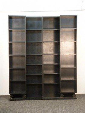 Ebonized Modern Sectioned Bookcase