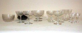 30 Piece Etched Vintage Glass Stem Set (Plus +)