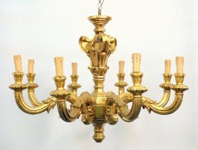 French Style Carved Gilt Wood Chandelier