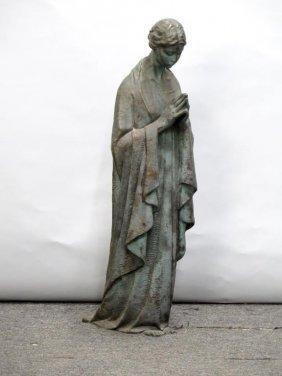 Signed G. Curti Bronze - Standing Praying Woman