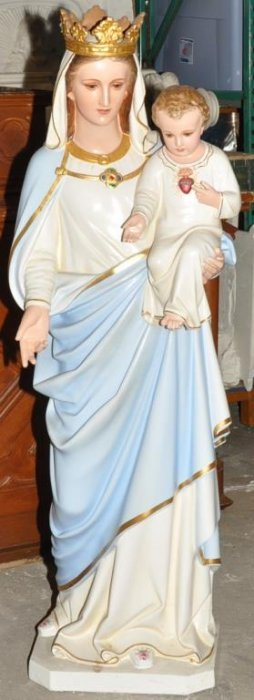 Plaster Statue Of Mary And Infant Jesus