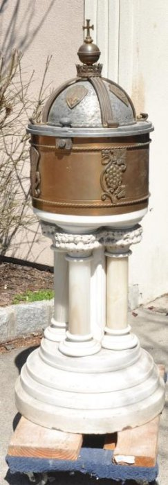 Antique Mixed Material Gothic Baptismal Font