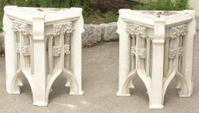 2 Antique Italian Marble Canopy Sections