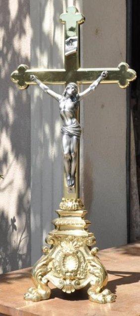 Antique Bronze Altar Crucifix
