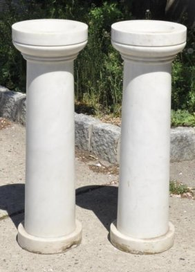 Pair Antique Italian Marble Holy Water Fonts