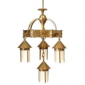 Brass Mission Four Light Chandelier
