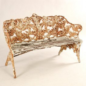 """Early Cast Iron """"Fern"""" Bench"""