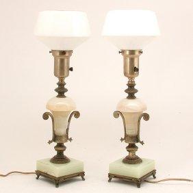 Edwardian Onyx & Metal Table Lamps