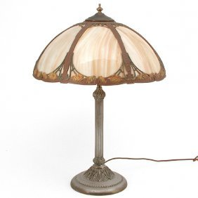 Slag Glass Art Nouveau Table Lamp