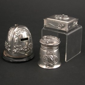 Sterling Stamp Dispenser, Inkwell, And Box