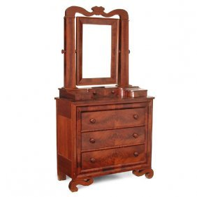 Unusual American Empire Chest With Mirror