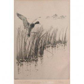"""Richard Bishop Engraving, """"Willow Pond At Kinlock"""""""