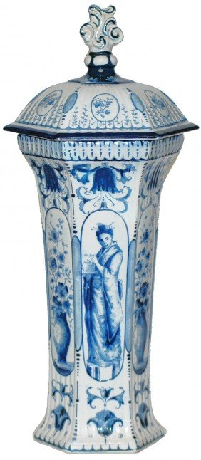 Mettlach Oriental Design Covered Urn