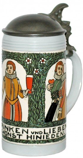 Franz Ringer Mettlach Stein With Medieval Couples