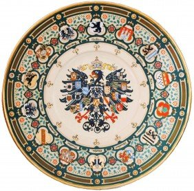 Impressive Huge Mettlach Imperial Eagle Plaque