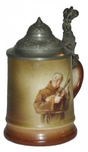 Monk Plays Violin 1/8l Columbian Art Pottery