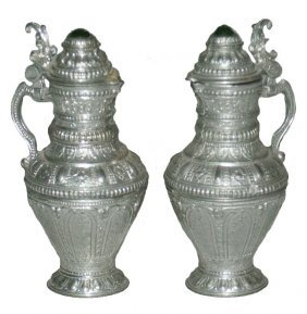 Pair Bulbous Miniature Pewter Stein W Glass Inlay