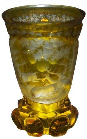 Bohemian 1860 Glass Beaker W Wheel Cut Stags