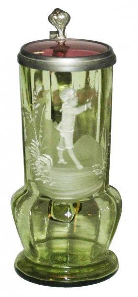White Enamel Boy Ongreen Glass Stein W Glass Inlay