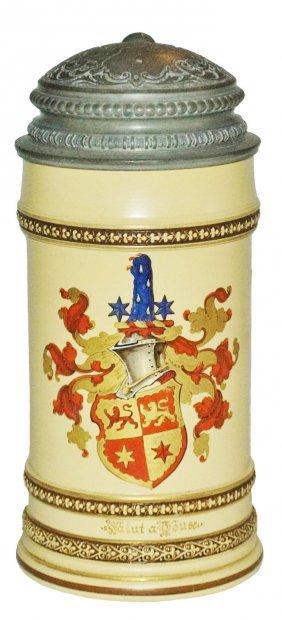 Heraldic Shield Mettlach Stein W Fancy Lid